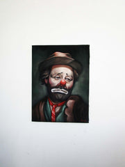 "Emmett Kelly Portrait, Original Oil Painting on Black Velvet by Alfredo Rodriguez ""ARGO"" - #A168"
