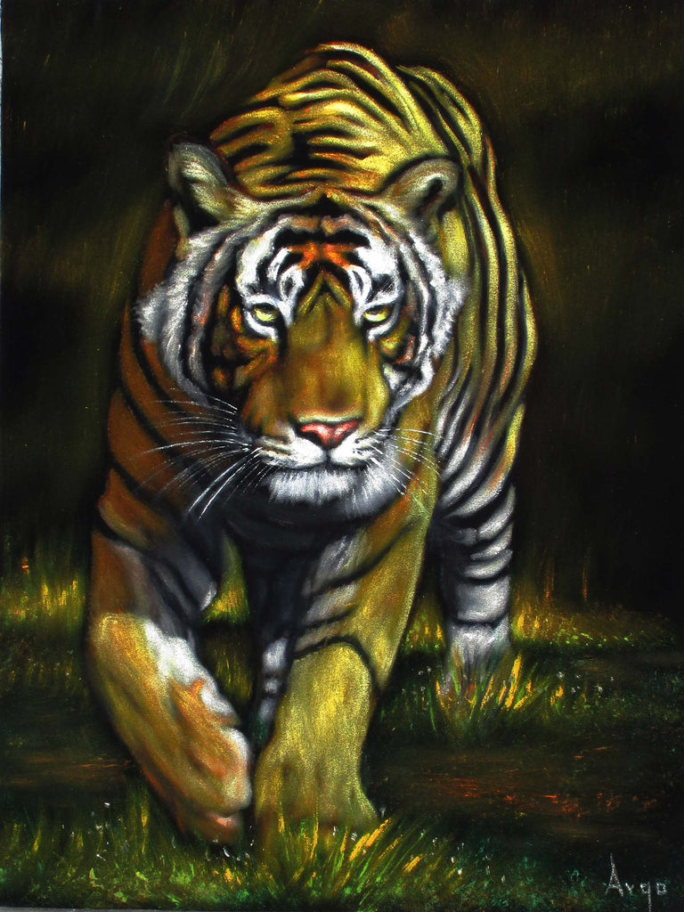 "Bengal Tiger,  Original Oil Painting on Black Velvet by Alfredo Rodriguez ""ARGO""  - #A170"