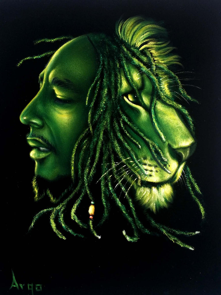 "Bob Marley Portrait , Iron Lion Zion, Original Oil Painting on Black Velvet by Alfredo Rodriguez ""ARGO"" - #A175"