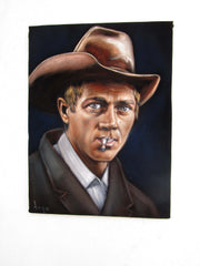 "Steve McQueen Portrait, Original Oil Painting on Black Velvet by Alfredo Rodriguez ""ARGO"" - #A167"