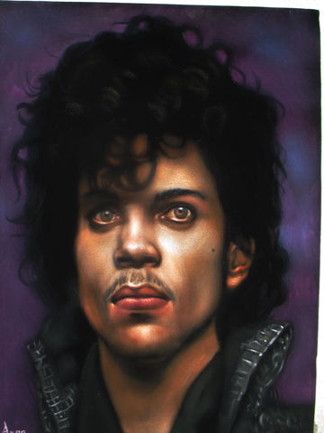 "Prince  Portrait,  Original Oil Painting on Black Velvet by Alfredo Rodriguez ""ARGO"" - #A176"