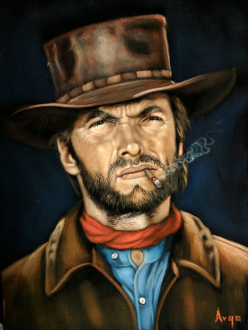 "Clint Eastwood Portrait from ""good bad ugly"" movie Original Oil Painting on Black Velvet by Alfredo Rodriguez ""ARGO"" - #A327"