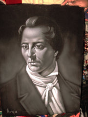 "Joseph Smith Portrait, Mormon latter day saint,   Original Oil Painting on Black Velvet by Alfredo Rodriguez ""ARGO"" - #A36"
