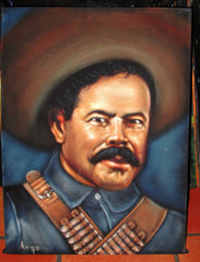 "Pancho Villa  Mexican Revolution Original Oil Painting on Black Velvet by Alfredo Rodriguez ""ARGO""  - #A45"