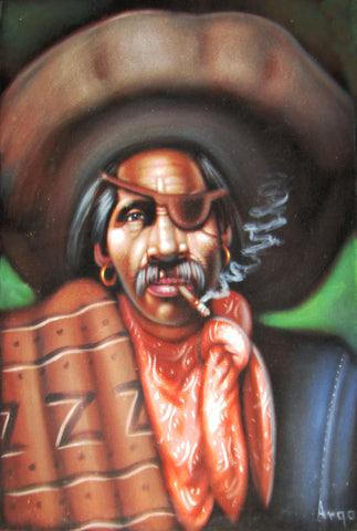 "Bandit, Mexican Bandito, Original Oil Painting on Black Velvet by Alfredo Rodriguez ""ARGO"" - #A47"