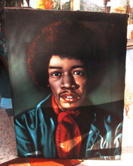 "Jimi Hendrix Portrait,  Original Oil Painting on Black Velvet by Alfredo Rodriguez ""ARGO"" - #A48"