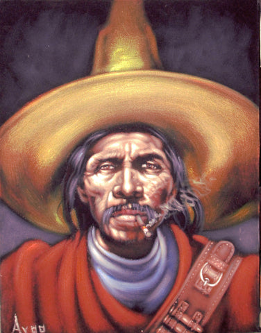 "Bandit, Mexican Bandito, Original Oil Painting on Black Velvet by Alfredo Rodriguez ""ARGO"" - #A49"