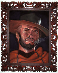 "Clint Eastwood Spaghetti Western,  Original Oil Painting on Black Velvet by Alfredo Rodriguez ""ARGO""  - #A4"
