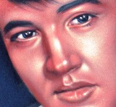 "Elvis Presley Portrait , Original Oil Painting on Black Velvet by Alfredo Rodriguez ""ARGO"" - #A50"