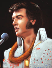 "Elvis Presley Portrait , Original Oil Painting on Black Velvet by Alfredo Rodriguez ""ARGO"" - #A53"
