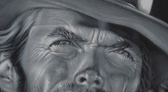 "Clint Eastwood Spaghetti Western,  Original Oil Painting on Black Velvet by Alfredo Rodriguez ""ARGO""  - #A55"