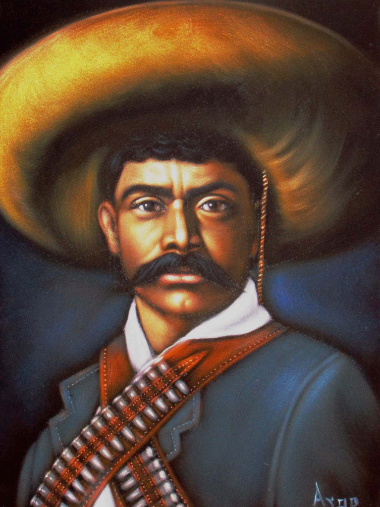 "Emiliano Zapata Salazar Mexican Revolution Original Oil Painting on Black Velvet by Alfredo Rodriguez ""ARGO""  - #A58"