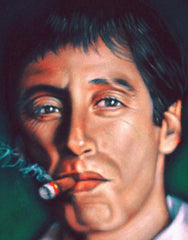 "Tony Montana Portrait , Al Pacino, Scarface Original Oil Painting on Black Velvet by Alfredo Rodriguez ""ARGO"" - #A59"