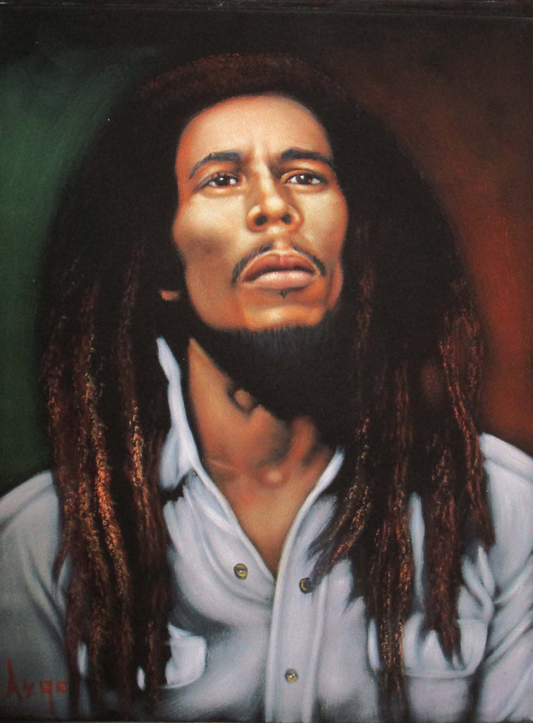 "Bob Marley Legend Portrait, Original Oil Painting on Black Velvet by Alfredo Rodriguez ""ARGO"" - #A60"