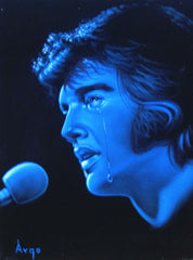 "Elvis Presley Portrait , Blue version, Original Oil Painting on Black Velvet by Alfredo Rodriguez ""ARGO"" - #A61"
