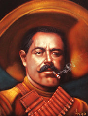 "Pancho Villa  Mexican Revolution Original Oil Painting on Black Velvet by Alfredo Rodriguez ""ARGO""  - #A62"