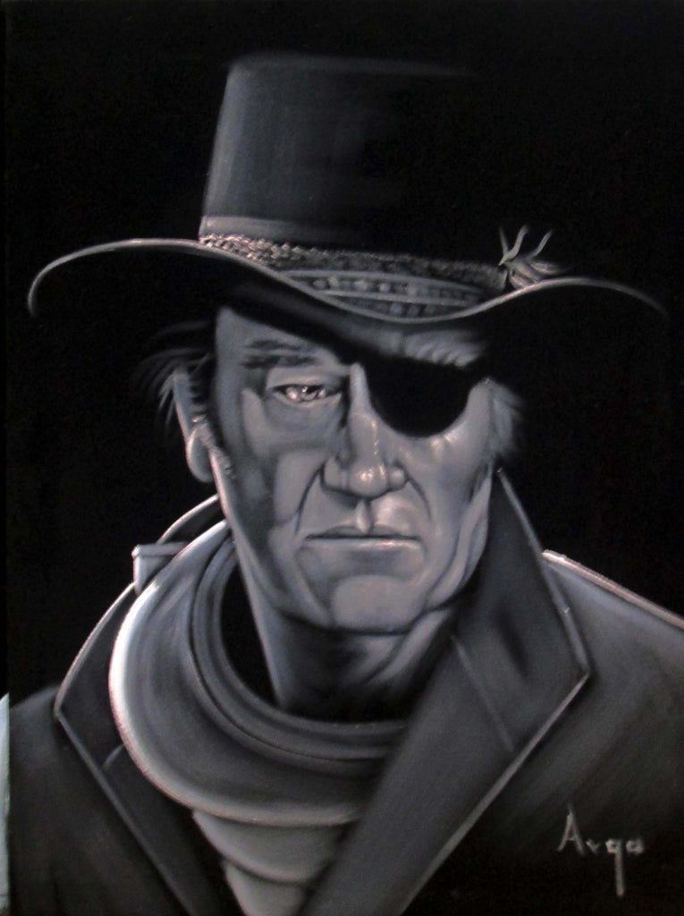"John Wayne Portrait,  Original Oil Painting on Black Velvet by Alfredo Rodriguez ""ARGO"" - #A63"