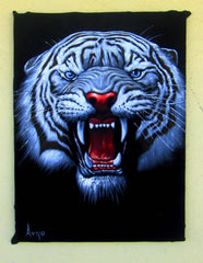 "Tiger Head, White Tiger,  Original Oil Painting on Black Velvet by Alfredo Rodriguez ""ARGO""  - #A66"