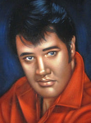 "Elvis Presley Portrait , Original Oil Painting on Black Velvet by Alfredo Rodriguez ""ARGO"" - #A168"