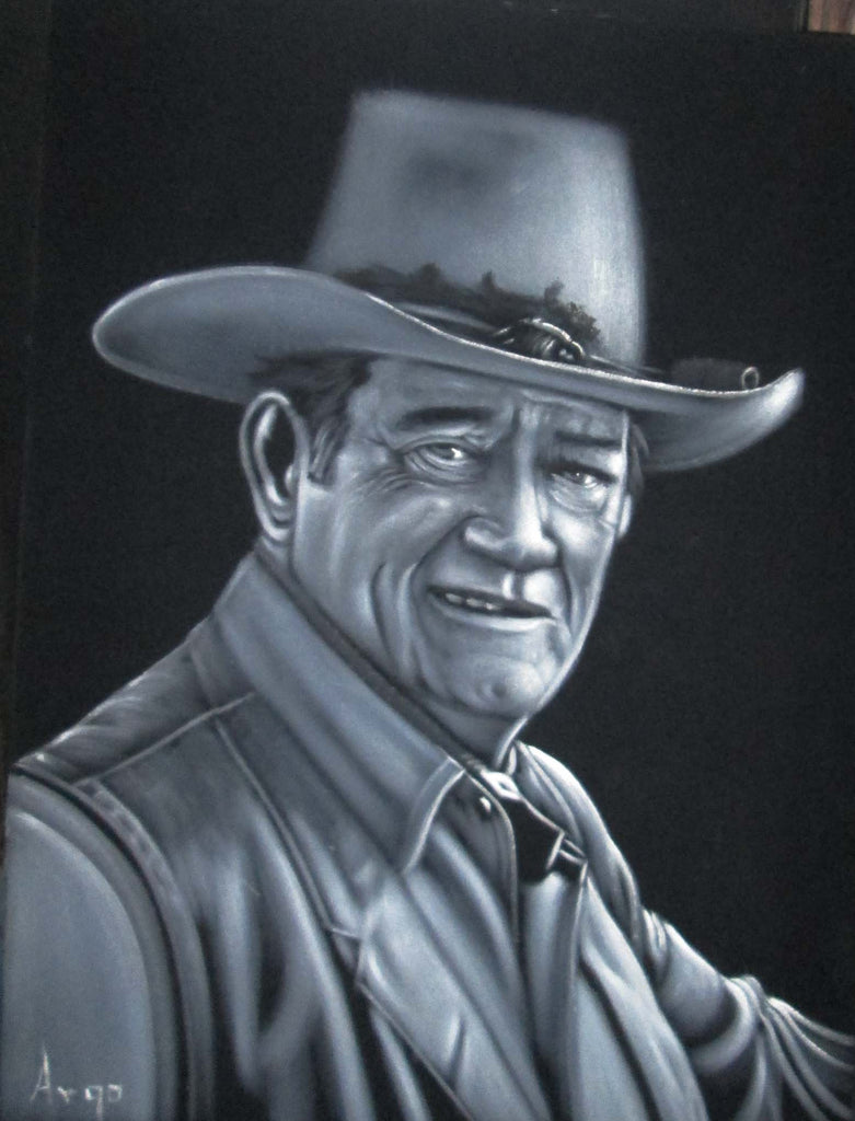 "John Wayne Portrait,  Original Oil Painting on Black Velvet by Alfredo Rodriguez ""ARGO"" - #A70"