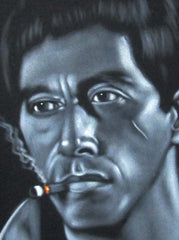 "Tony Montana Portrait , Al Pacino, Scarface Original Oil Painting on Black Velvet by Alfredo Rodriguez ""ARGO"" - #A71"