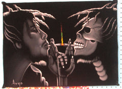"Bob Marley Portrait, skull, Original Oil Painting on Black Velvet by Alfredo Rodriguez ""ARGO"" - #A74"
