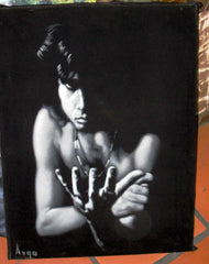 "Jim Morrison Portrait,  Original Oil Painting on Black Velvet by Alfredo Rodriguez ""ARGO"" - #A77"