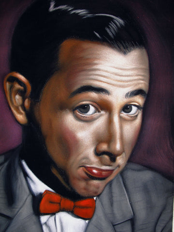 "Pee-wee Herman Paul Reubens Portrait, Original Oil Painting on Black Velvet by Alfredo Rodriguez ""ARGO"" - #A177"