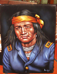 "Indian Brave,  Original Oil Painting on Black Velvet by Alfredo Rodriguez ""ARGO"" - #A78"