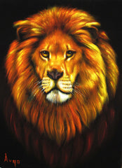 "Lion,  Original Oil Painting on Black Velvet by Alfredo Rodriguez ""ARGO""  - #A82"