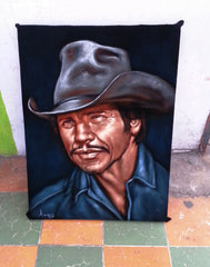 "Charles Bronson Portrait,  Original Oil Painting on Black Velvet by Alfredo Rodriguez ""ARGO""  - #A83"