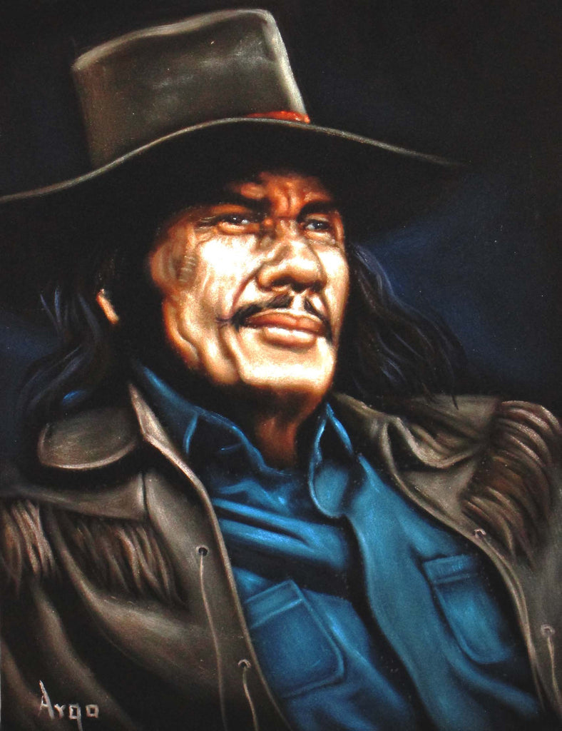 "Charles Bronson Portrait,  Original Oil Painting on Black Velvet by Alfredo Rodriguez ""ARGO""  - #A84"
