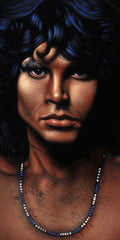 "Jim Morrison Portrait,  Original Oil Painting on Black Velvet by Alfredo Rodriguez ""ARGO"" - #A85"