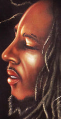 "Bob Marley Portrait , Iron Lion Zion, Original Oil Painting on Black Velvet by Alfredo Rodriguez ""ARGO"" - #A87"