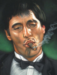 "Tony Montana Portrait , Al Pacino, Scarface Original Oil Painting on Black Velvet by Alfredo Rodriguez ""ARGO"" - #A88"