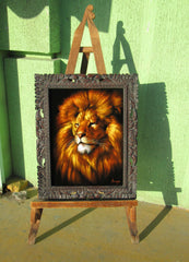 "Lion,  Original Oil Painting on Black Velvet by Alfredo Rodriguez ""ARGO""  - #A89"