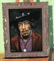 "Jimi Hendrix Portrait,  Original Oil Painting on Black Velvet by Alfredo Rodriguez ""ARGO"" - #A92"