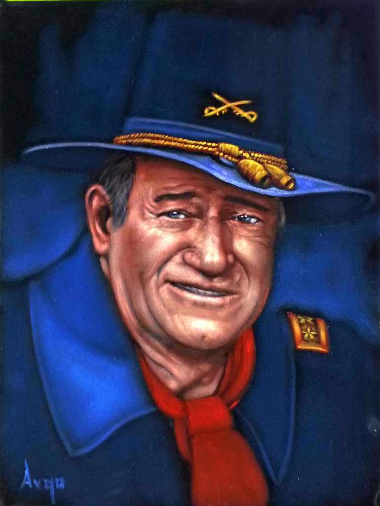 "John Wayne Portrait,  Original Oil Painting on Black Velvet by Alfredo Rodriguez ""ARGO"" - #A94"