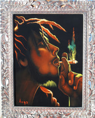 "Bob Marley Portrait,  Original Oil Painting on Black Velvet by Alfredo Rodriguez ""ARGO"" - #A96"