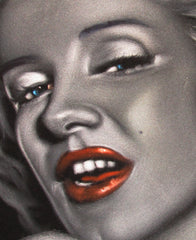 "Marilyn Monroe Portrait, Original Oil Painting on Black Velvet by Alfredo Rodriguez ""ARGO"" - #A99"