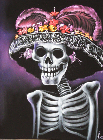 "Calavera, La Calavera Catrina , Original Oil Painting on Black Velvet by Enrique Felix , ""Felix"" - #F43"