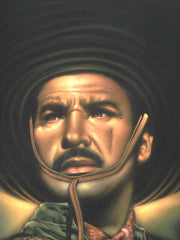 "Antonio Aguilar, Mexican Actor, Original Oil Painting on Black Velvet by Enrique Felix , ""Felix"" - #F46"