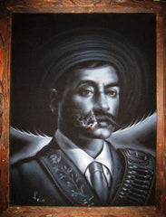 "Emiliano Zapata Portrait, Mexican Revolution Leader, Original Oil Painting on Black Velvet by Enrique Felix , ""Felix"" - #F100"
