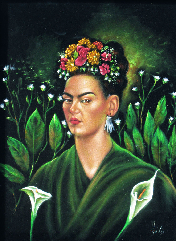 "Frida Kahlo Portrait  Original Oil Painting on Black Velvet by Enrique Felix , ""Felix"" - #F104"