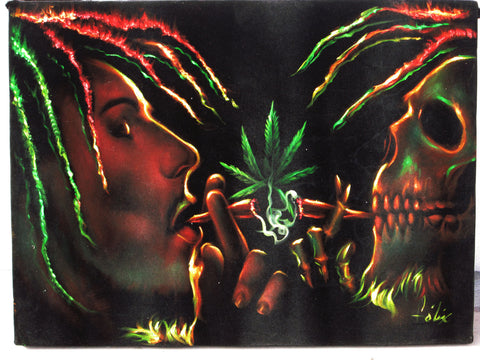 "Bob Marley and Skull Smoking,  Original Oil Painting on Black Velvet by Enrique Felix , ""Felix"" - #F106"
