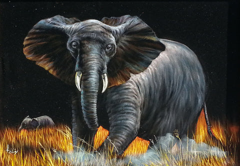 "Elephant,  African Elephant, Original Oil Painting on Black Velvet by Enrique Felix , ""Felix"" - #F108"