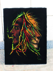 "Bob Marley and Lion  Smoking,  Original Oil Painting on Black Velvet by Enrique Felix , ""Felix"" - #F113"