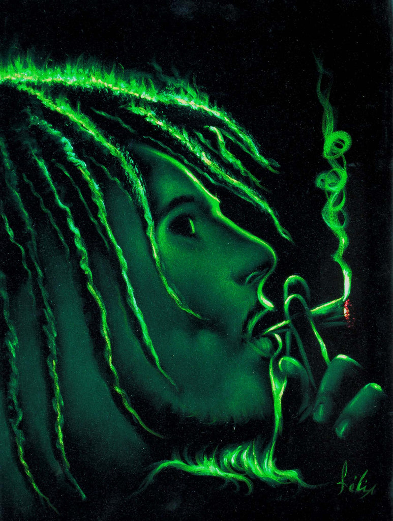 "Bob Marley Smoking,  Original Oil Painting on Black Velvet by Enrique Felix , ""Felix"" - #F114"