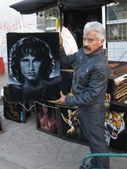 "Jim Morrison Portrait, The Doors,  Original Oil Painting on Black Velvet by Enrique Felix , ""Felix"" - #F116"