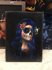"Copy of Sugar Skull Face paint girl, Day of the Dead (Día de los Muertos), Original Oil Painting on Black Velvet by Enrique Felix , ""Felix"" - #F118"